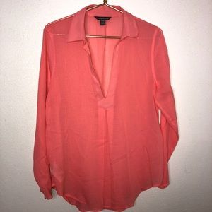 TOMMY BAHAMA || pink linens long sleeve tunic Med